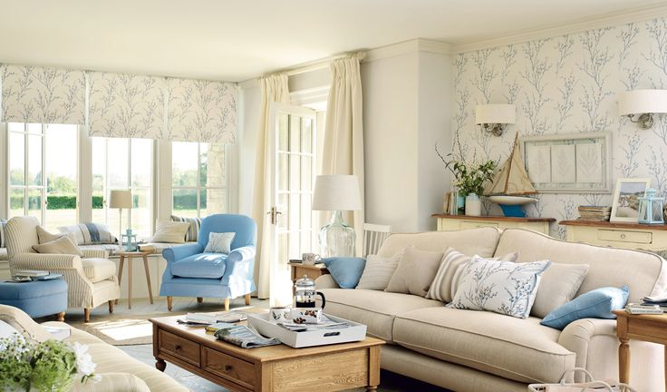 Pussy Willow In Off White Sea Spray Wallpaper By Laura Ashley