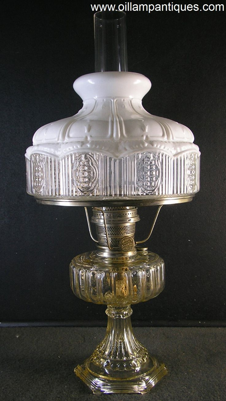 Aladdin Cathedral lamps were only produced in 1934. They came in three moonstone models (white, green and flesh) and three crystal colours (clear, amber and green). This kerosene mantle lamp is the clear crystal variety, Model 107.