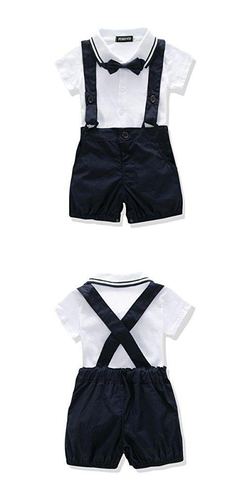 39bd7f764 FERENYI US Baby Boys Bowtie Gentleman Romper Jumpsuit Overalls ...