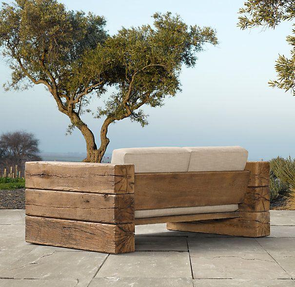 aspen sofa restoration hardware back - Madeira e uma pitada de criatividade, ainda dão ótimos resultados na produção de peças ímpares e funcionais.