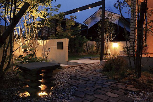 思わず歩いてみたくなるアプローチ。光の力に惹き寄せられる「魅せる門まわり」 #lightingmeister #gardenlighting #outdoorlighting #exterior #garden #lightup #entrance #light #fascinating #home #house #gate #pinterest #アプローチ #光 #魅せる #家 #門 #玄関