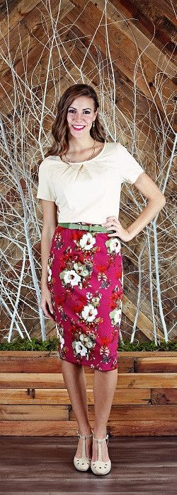 A simple pencil skirt with a fun floral pattern is a favorite part of any spring…