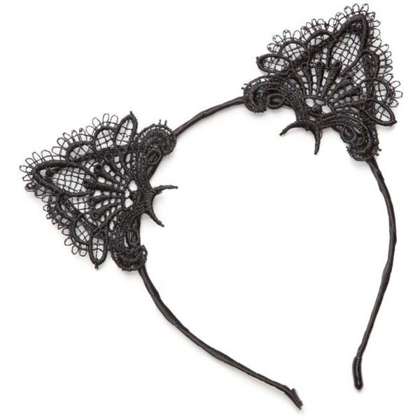 True Craft  Lace Cat Ear Headband ($13) ❤ liked on Polyvore featuring accessories, hair accessories, black, lace headwrap, headband hair accessories, lace cat ears headband, head wrap headbands and cat ear hairband