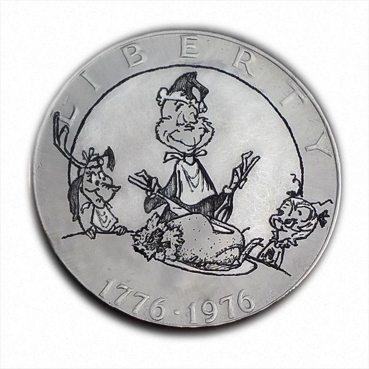 Grinch's Xmas Dinner #S392 Ike Dollar Hobo Nickel Engraved by Luis A Ortiz