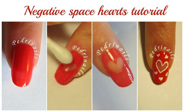 Negative space hearts nails design tutorial - how to - photo © Pedrìnails