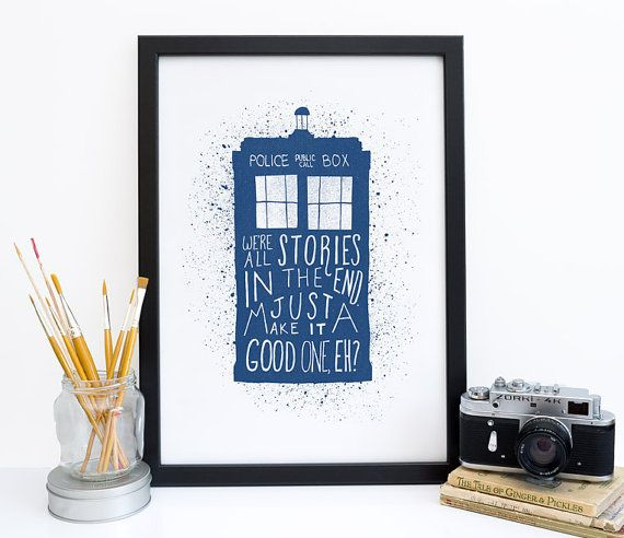 Doctor Who Quote Print, Dr Who Decor Poster, Were All Stories, Tardis Blue Print, Eleventh Doctor, Dr Who Wedding, Housewarming Gift