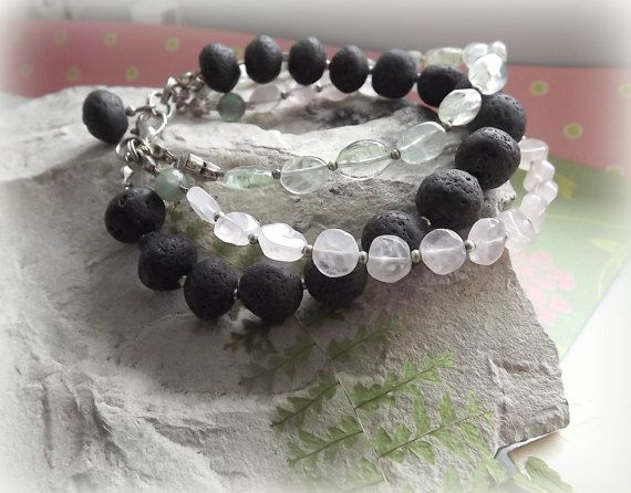 Jewelry Bracelets Volcanic lava Rose quartz by AcoyaJewellery