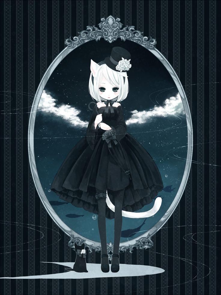 cute fashionable anime cat girl                                                                                                                                                                                 Mais