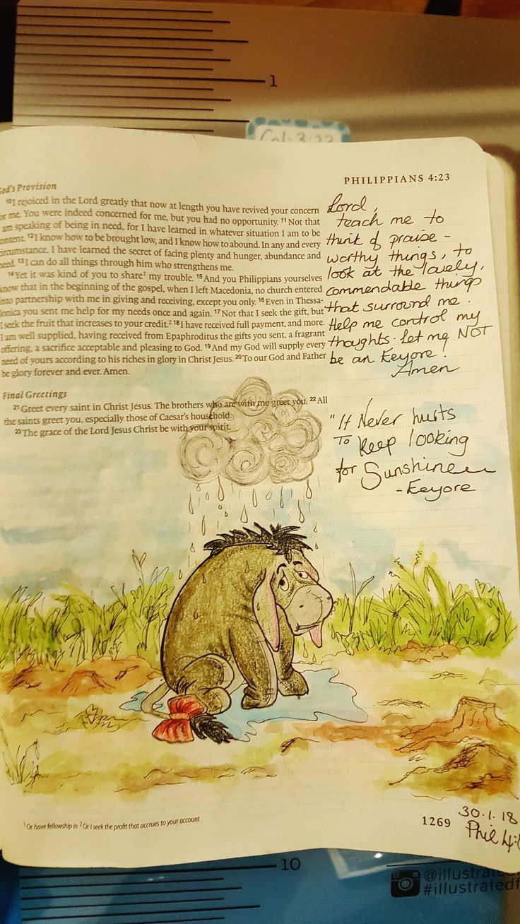Philippians 4 8-9 Whatever is lovely. Don't be an Eeyore!