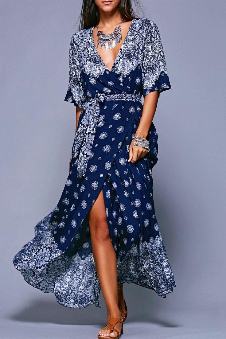 $16.20 Bohemian Style Plunging Neck Tie Belt High Slit Dress