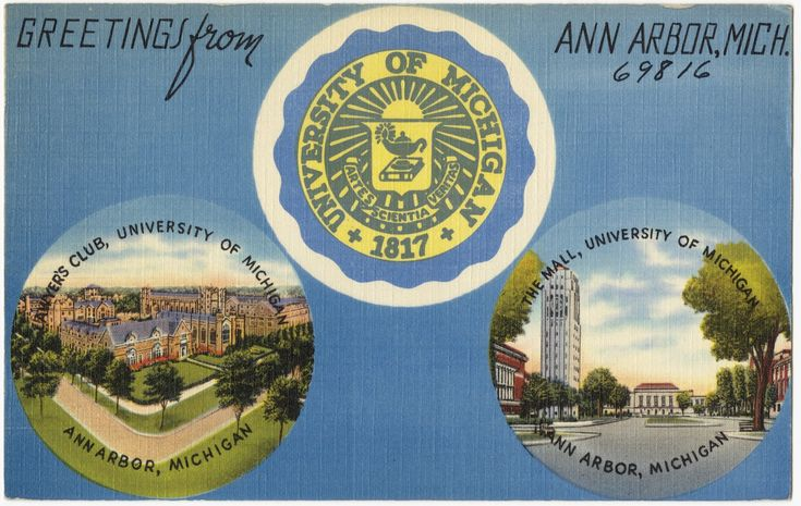 Greetings from Ann Arbor, Mich., Lawyer's Club, the Mall, University of Michigan, Ann Arbor, Michigan