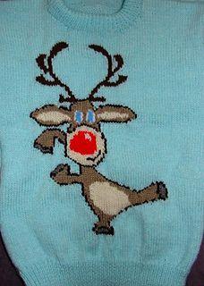 Christmas Rudolph Reindeer Jumper / Sweater Knitting Pattern #17.