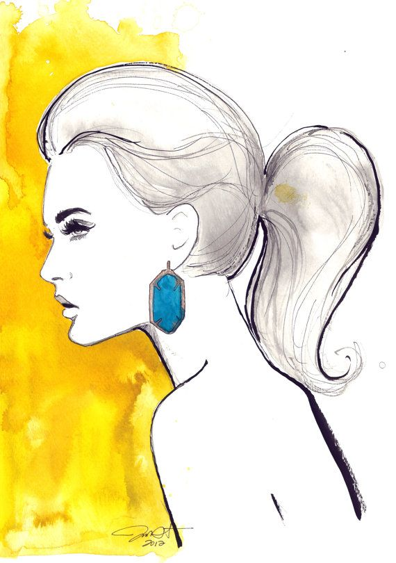 Watercolor and Pen Fashion Illustration, Jessica Durrant - Yellow & Turquoise print version