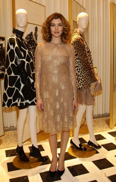 Vittoria Puccini Evening Dress - Vittoria Puccini looked divine in this delicate gold lace dress at a Valentino Flagship Store Opening in Milan.
