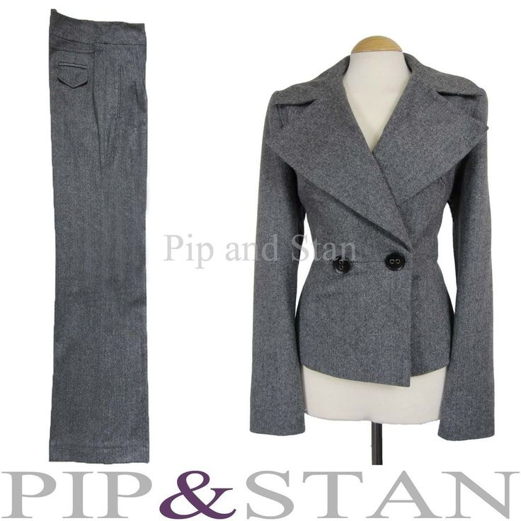 NEXT UK14/16 US10/12 TROUSER SUIT GREY WOOL TWEED 40S INSPIRED WOMEN LADIES SIZE #Next #TrouserSuit #Business