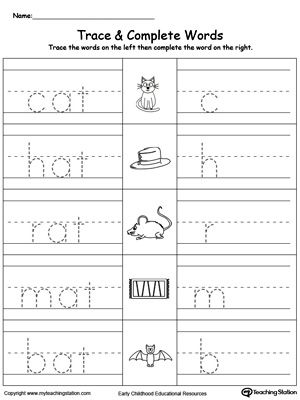 Trace then write the words themselves in this AT Word Family Trace and Write printable worksheet.