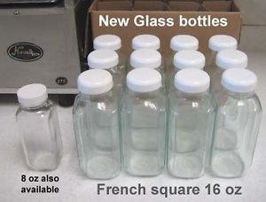 French Square 16 Ounce Best New Bottles Tops Norwalk Juicer Beverage Storage | eBay