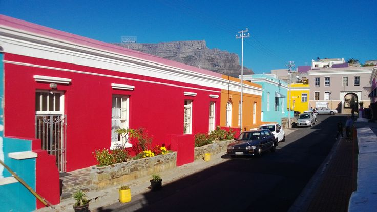 Bo Kaap with Table Mountain