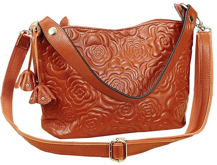 """Hereby Kuer(TM) Women's Cow Leather Tote Top-handle Shoulder Bag Cross Body Handbag Messenger satchel Clutch Purse (Brown). Zippered closure. 1 generous main pocket +1 invisible zippered pocket inside. Have cell phone pocket. Easily hold your Iphone6/wallet/ Cosmetics and other daily things . Removable and adjustable shoulder strap, you can have 3 carrying options (Single shoulder, cross body and hand carry). Size info:(L)6.69"""" * (W)4.06""""* (H)7.48""""in .Weight is 0.9 pounds ."""