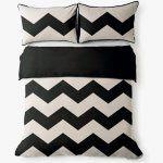 Aura Chevron Grande Black Queen Size Bed Linen and Duvet Set- Tracie Ellis | Urban Couture - Designer Homewares & Furniture Online