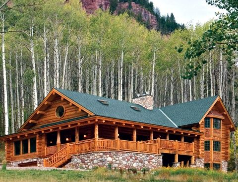 Like the covered porch and large windows in the back omit for Three story log cabin
