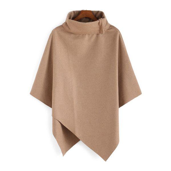 SheIn(sheinside) Turtleneck Woolen Asymmetrical Cape Khaki Coat (20 CAD) ❤ liked on Polyvore featuring outerwear, coats, jackets, tops, capes, khaki, khaki coat, long sleeve asymmetric coat, wool cape and short wool coat