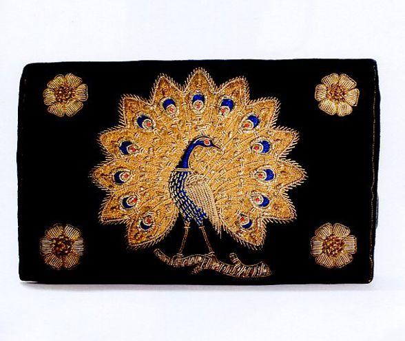 1970s embroidered velvet evening bag