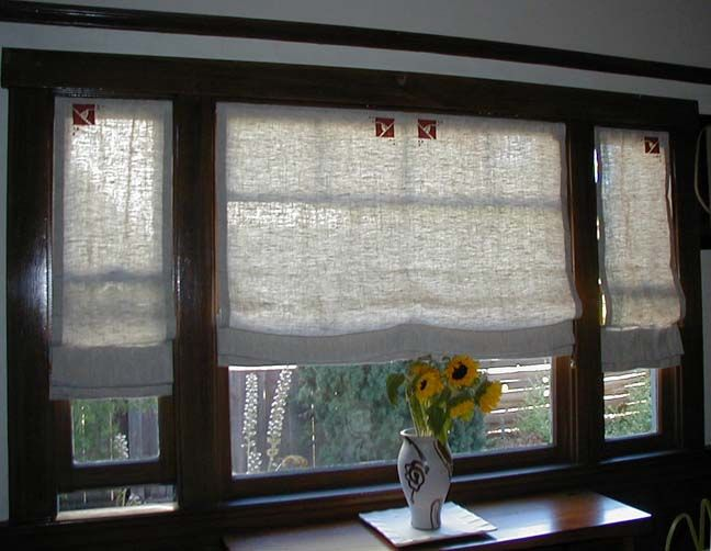 arts and crafts–style roman shades. stencils, roller blinds, and linens.