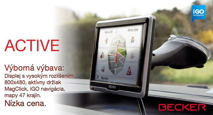 """Navigácie Becker Active s navigačným softvérom iGO poskytujú výborný pomer funkcie/cena. Becker Active je vybavený antireflexným displejom s vysokým rozlíšením 800x480 bodov a verzie """"Plus"""" aj Bluetooth Handsfree. K dispozícii sú modely s 5"""" alebo 6.2"""" displejom."""