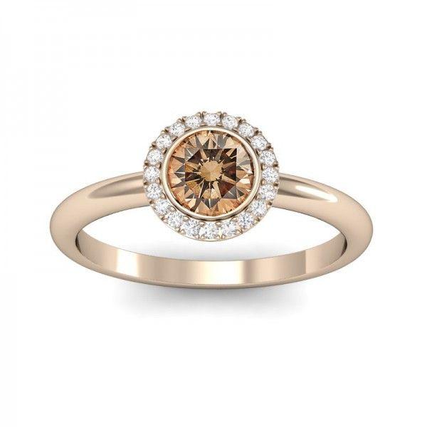 Halo Inspire mit Champagner Diamant. Insgesamt 0,6 ct Diamanten #Verlobungsring #Haloring #Diamantring #Verlobung #verlobungsring.de