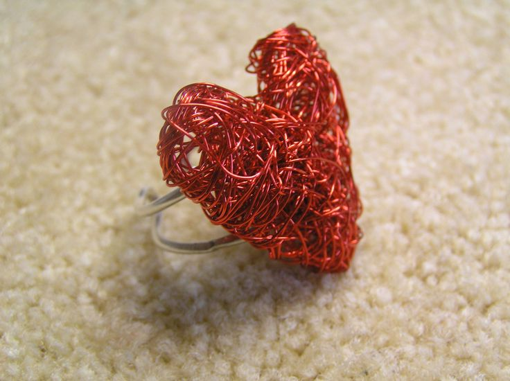 Silver ring with red heart wire by StoneSeeds on Etsy