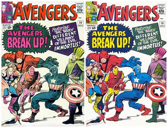 Avengers #10 switched colors printing error.  Click the pic and find out more...