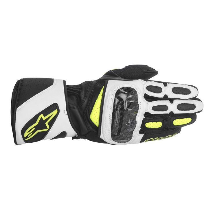ALPINESTARS SP-2 BLACK WHITE YELLOW Gauntlet Leather Glove FREE SHIPPING