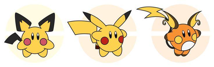 Kirby / Pichu - Pikachu - Raichu by Elenwae.deviantart.com on @DeviantArt