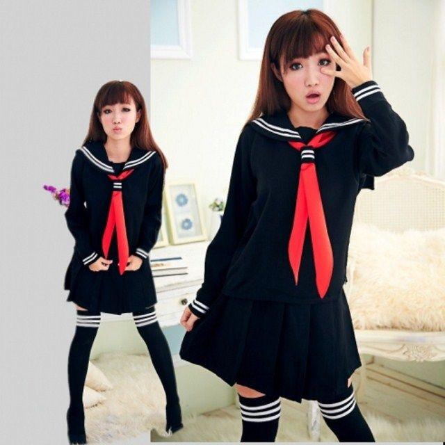 JK Japanese School sailor uniform fashion school class navy sailor school uniforms for Cosplay girls suit 2 Pcs / Set
