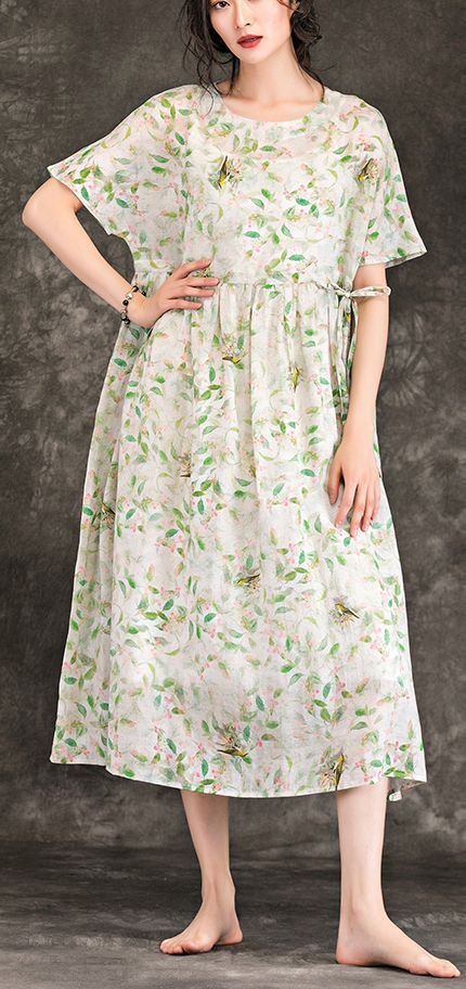 09169a9105 Art floral linen clothes For Women boutique Shape o neck Plus Size Summer  Dresses
