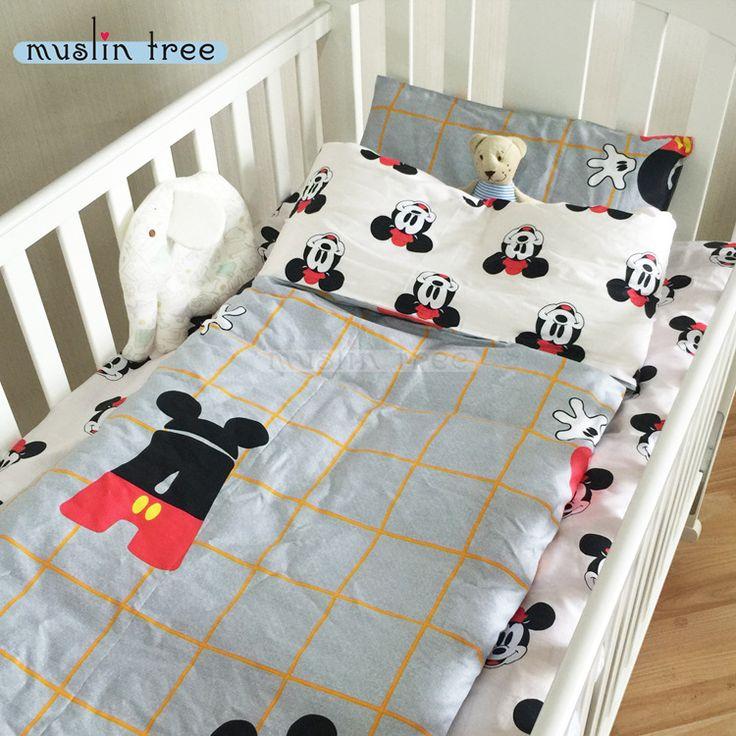 新しい到着したホットinsベビーベッドベッド100% cottotton 3ピースベビー寝具セットは枕カバー+ベッドシート+布団カバーを埋めることなく
