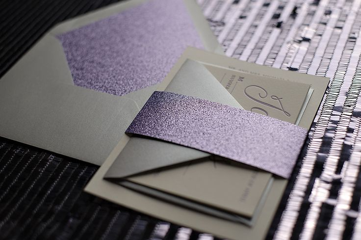 Silver And Purple Wedding Invitations: Glitter Wedding Invitations, Belly Bands For Invitations