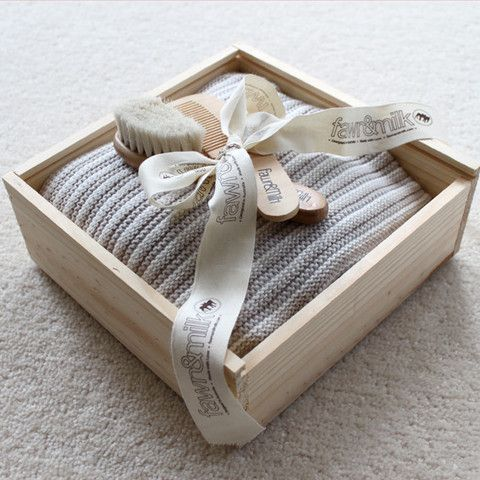 100 Cotton Blanket Gift Box Tan Fawn And Milk