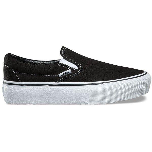 Vans Slip-On Platform ($55) ❤ liked on Polyvore featuring shoes, sneakers, black, black platform shoes, slip-on sneakers, platform shoes, black slip-on shoes and low top platform sneakers