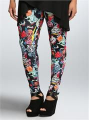 Plus Size Tattoo Print Full Length Leggings