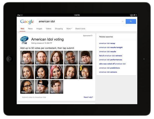 """Google Becomes A """"Second Screen,"""" Teams Up With FOX To Offer Online Voting Tools For """"American Idol"""""""