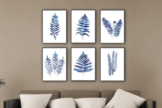 Blau Farn Illustration Aquarell Wall Decor von ColorWatercolor