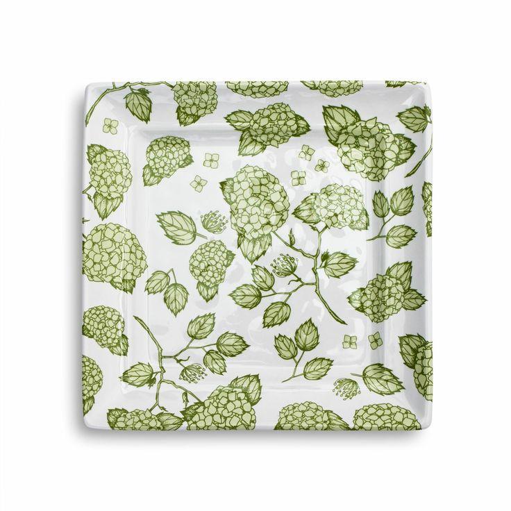 Light Green Hydrangea Square Appetizer Plate | Sur La Table