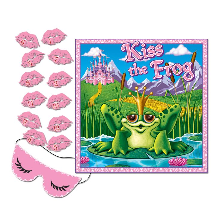 Kiss the Frog Game.  This traditional Blindfold Game is a must have party game! Each guest takes turns trying to pin the lips on the frog while wearing a blindfold. Closest to the right spot wins! A fun party idea for a birthday party, frog, princess or Hen's Night themed party event.  Excellent fun!  Price is for per (1) game; 47 cm x 47 cm; mask & 12 lips