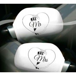Auto spiegel hoezen Mr and Mrs