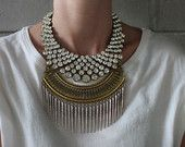 Butler! Handcrafted Statement Necklace: Silver and bronze crystal layered & stacked rhinestone ethnic bohemian necklace