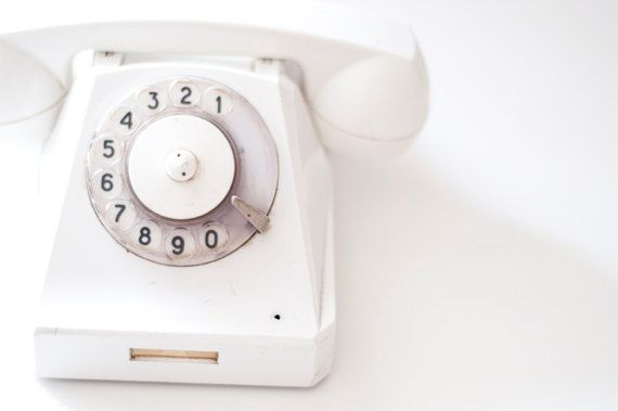 Vintage Rotary phone - White - Vintage Home Decor - made in Soviet Union: Forehead Kiss, Call, Vintage Phones, White Phones, Rotary Phones, Vintage Home Decor, Soviet Union, Interiors Offices, Vintage Rotary