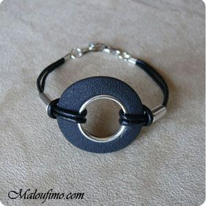 Bracelet | Tutorial by Maloufimo.  Simple and very stylish for casual wear. #polymer #clay #tutorial