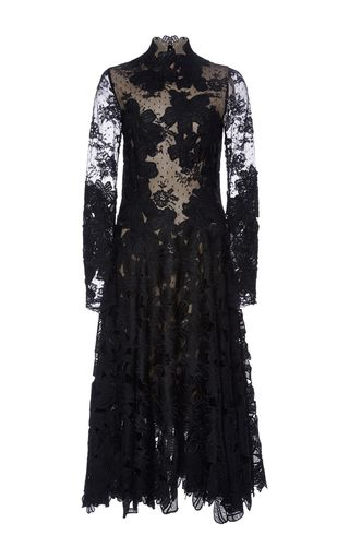 Guipure And Chantilly Lace Midi Dress by COSTARELLOS for Preorder on Moda Operandi